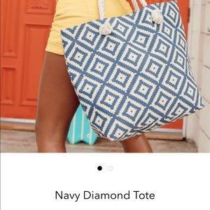 NWT Summer & Rose Navy Diamond Tote Beach Bag